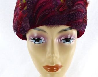 VINTAGE 1960s Red Velvet Pillbox Hat with Multi Colored Feathers