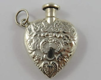 Sterling Silver Heart Shaped Perfume Holder Pendant