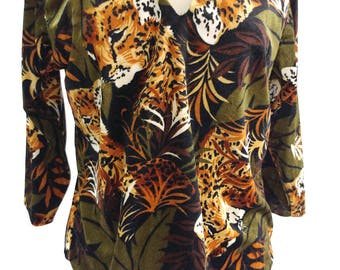 Vintage Velvet Cheetah Top - Mother and Cub Hidden in Leaves - XL