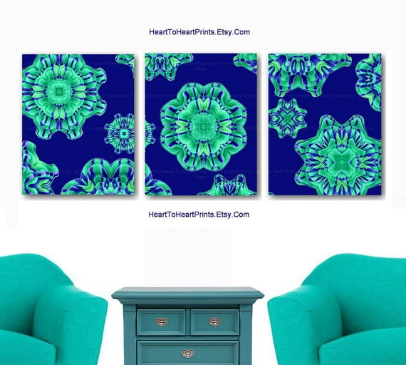 Items Similar To Teal Purple Abstract Flowers Wall Decor: Items Similar To Green Blue Home Decor Teal Mint Navy Art