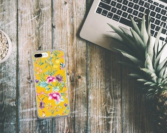 Floral on Yellow | iPhone Case | Nature Phone Case | Flower iPhone Case |  iPhone 7 | Feminine iPhone 6 Case | Pink & Yellow | Plants