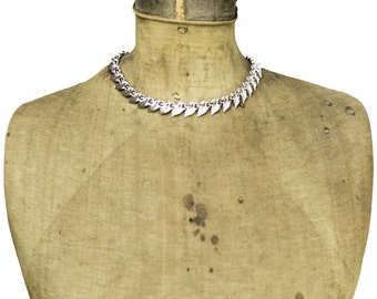 Vintage Marboux Silver Necklace, Boucher Silver Leaf Necklace, Silver Link Necklace, Silver Collar Necklace, Silver Choker Necklace