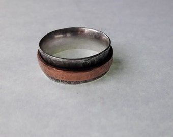 Spinner Ring, Wide Band Sterling Silver and Copper
