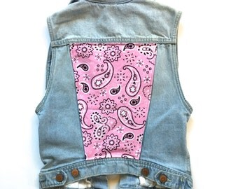 Women's Denim Vest w/ Pink Bandana Print (XS) | custom denim | womens jean vest | country | cowgirl