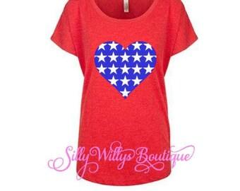4th of July shirt, 4th of July shirt womens, hearts and stars shirt, USA shirt, American flag shirt