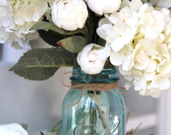 Farmhouse Decor, Vintage Blue Mason Jar Floral Arrangement: Table Centerpiece, Hydrangea  and Mini Peonies Arrangement