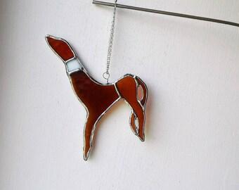 Brown Greyhound, Glass window Suncatcher, dog lovers gift, sun catcher, Hanging gifts, for birthdays, stained glass, anniversary present,