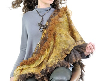 OOAK  Felted  Shawl Nuno Felted Brawn Ready to Ship