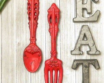 Kitchen Wall Decor -  Home Decor - Kitchen Decor, Rustic Kitchen Decor, Kitchen Signs, Kitchen Sign Decor, Fork and Spoon, Housewarming Gift