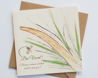 """Bee Vocal   Friendship   Encouragement   Just Because Card   """"Bee-Attitudes"""" by Love Bee"""