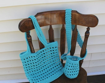Aqua Beach Bag and Water Bottle Bag Set, Crochet Beach Bag, Crochet Water Bottle Carrier, Eco-friendly Bag