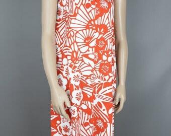 60s HONOLULU NALII FLORAL  reddish orange white cotton dress