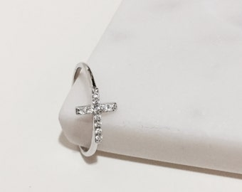 Cross ring, cubic ring, simple ring, sterling silver