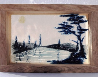 Glass picture AT THE LAKE, Fused glass landscape, Blue glass scene, Glass frit painting, Shadow box art, Birthday gift, Hiker's gift