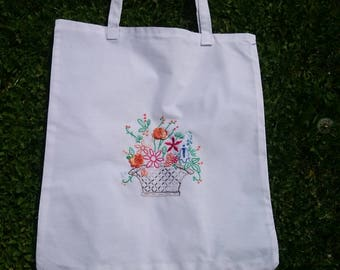 FREE SHIPPING/Embroidered tote bag/Hand Design Tote Bag/market bag/ beach bag/supermarket bag/ shoulder bag/Flowers bag