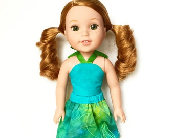 Mini Flare Skirt, Tie Dye, Blue, Green, Fits dolls such as AG Wellie Wishers Doll Clothes, 14 inch, 14.5 inch, Spring, Summer