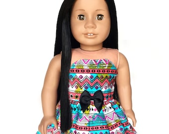 Strapless Dress, Aztec, Tribal, Multi-Color, Bow, Fits dolls such as American Girl, 18 inch Doll Clothes, Spring, Summer