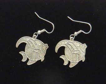 Angel Fish Earrings Oxidized Matte Silver Longfin Fishing Freshwater Sea Fishes ES463
