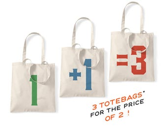 1+1=3 Natural Tote Bags - free totebag, free item, discount, sale, reduction, graphic printed bags, gift idea