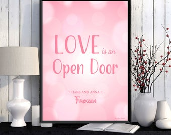 Disney Poster Disney Print Disney Quote Frozen Movie Girl Room Wall Decor