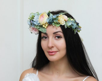 Ready to ship Pale blue pink spring flower crown Bridal headband Floral hair wreath Wedding halo Flower girl crown Bridesmaid headpiece