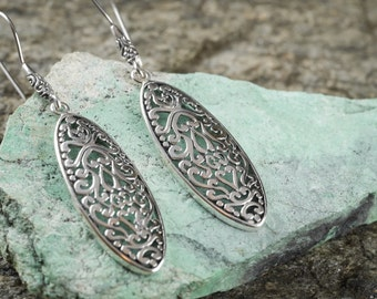 6cm Sterling Silver Filigree Earrings - Silver Earrings - Sterling Silver Jewelry J445