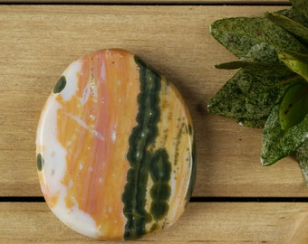 6cm Polished OCEAN JASPER Disk - Ocean Jasper Stone, Ocean Jasper Slab, Polished Stone Slab, Jasper Jewelry, Jasper Cabochon 16854