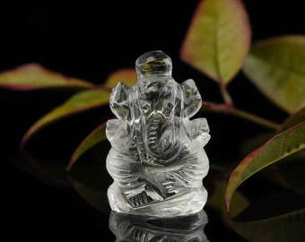 One CLEAR QUARTZ Ganesha Statue - Hand Carved Quartz Crystal Ganesha Art, Wire Wrapped Jewelry, Ganesha Pendant, Clear Quartz Crystal E0286