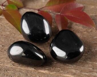 3 Small Tumbled Jet Stones - Tumbled Stone, Healing Crystal, Healing Stone, Black Amber Black Stone, Petrified Wood, Root Chakra Stone E0335