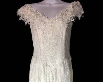 Vintage Gowns Vintage Jessica McClintock 80's Formal Vtg Bridal Dress Vintage Lace Formal Gown Vtg Prom Dress Vtg Long Lace Gown Size 4