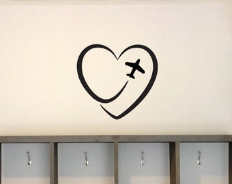 Travel Heart vinyl wall decal for the home, office, bedroom, airplane, removable sticker, wall graphics, wall art, home decor, image-0066