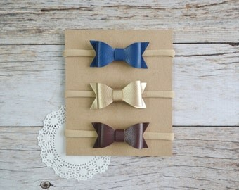 Leather bow Set of 3, nylon headband, one size headbands, newborn headbands, small bow headbands, baby shower gift set