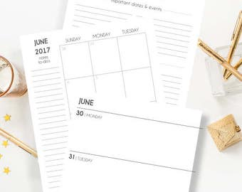SALE PRINTED 2018 A5 Planner Inserts, Horizontal Weeks, A5 Weekly Planner Inserts, A5 Weekly Horizontal Planner Inserts