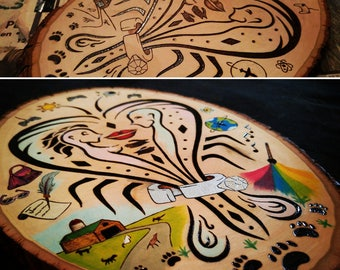 "Wood Burned - Pyrography and Watercolour ""Symbolism of Love"" Piece on Basswood Round Plaque"