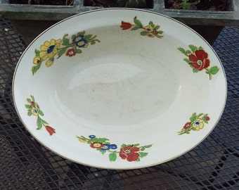 Vintage Ironstone bowl, White botanical transfer, White Ironstone, vegetable dish, serving bowl, Parkeet, Jonathan Bros, English Ironstone
