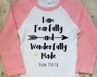 I Am Fearfully and Wonderfully Made-Scripture Clothing-Inspirational Clothing-Christian Clothing-Raglan Sleeve-Pink Raglan-Tailored Fit