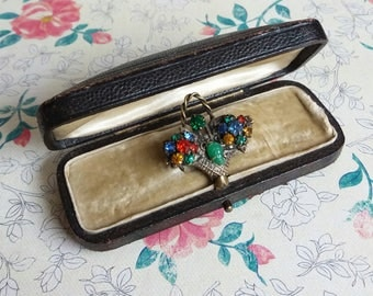 Vintage Victorian Paste Posy Basket Brooch Pin - Green / Blue Colourway