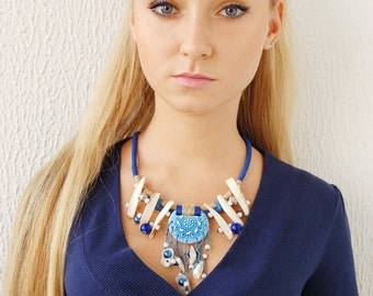 Statement necklace Blue Bib Necklace Boho Rope necklace Shells Agate Ethnic jewelry Unique handmade jewelry Tribal jewelry Gift for her