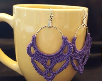 Crochet Earrings - Purple