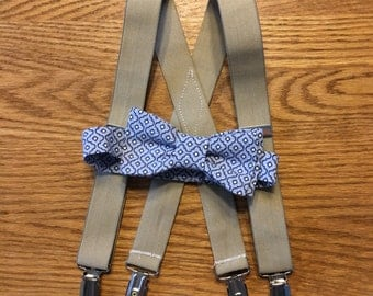 Beige Toddlers Suspenders and Tie | Size 18 M to 3T | Beige Braces | Suspenders | Toddlers Suspenders | Tan Suspenders | Blue Bow Tie |