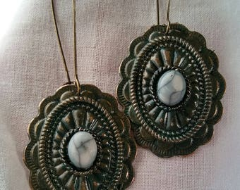 Antique Bronze Patina Earrings - antique bronze hand painted patina kidney wire earrings charm mother's mom dangle