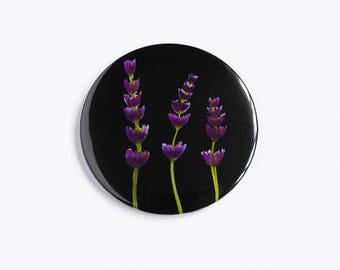 Pocket Mirror, Round Mirror, Makeup Bag, Gifts for her, Bridesmaid, Sister, Nature lover, Lavender Watercolour