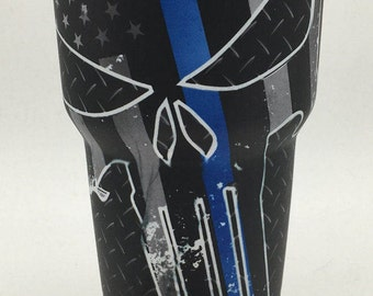Yeti Rambler 30oz - Police blue line skull tumbler - Hydrodipped Yeti - Stock Reduction Sale