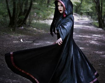 Long Black Coat, Gothic Cape, Black Coat, Black Cape, Black and Red Coat, Long Coat, Long Cape, Hooded Coat, Medieval Cape, Big Hood
