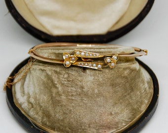 Antique Edwardian 9ct Rose Gold and Seed Pearl Bangle