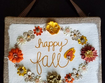 "Vintage Inspired ""Happy Fall"" Mixed-Media Painting"