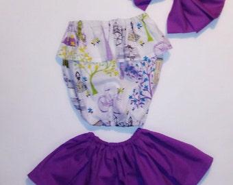 Paris tube top and skirt set