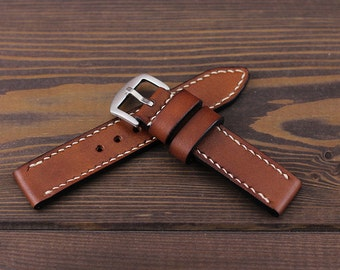 Brown leather watch strap 18, 20, 22, 24mm. Made of high quality vegetable tanned leather. Hand dyed and hand stitched.