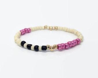 Hot Pink Bracelet, Fuchsia Bead Bracelet, Classy Pink bracelet, seedbead bracelet, elastic bracelet, gold pink bracelet, pink layer bracelet