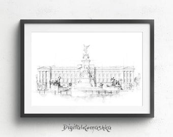 London posters, architectural drawing, london skyline art, prints of london, london city print, london picture, london room decor